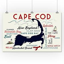 cape cod ma typography u0026 icons lp artwork 24x36 giclee print