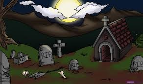 draw graveyard step step halloween seasonal free