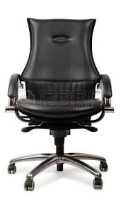 black leather managers office swivel chair isolated on white