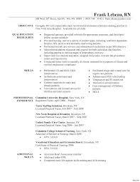 exles of nursing resume wonderful new grad nursing resume sle skills inspiration