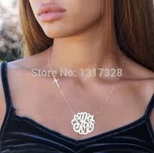 sterling silver monogram necklace pendant sterling silver monogram necklace initial pendant women necklace