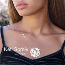 monogram necklace sterling silver monogram necklace with cross personalized style
