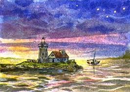 nighttime lighthouse