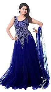 dress photo clickedia women s net gown dress material navy blue net gown