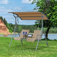 outsunny 2 person covered cushioned garden swing chair lounger