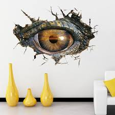 2017 new home decor dinosaur eye 3d wall sticker personality