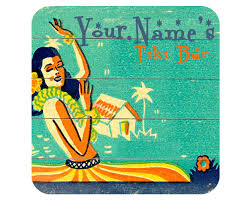 custom personalized retro tiki bar pub beer coasters mat your