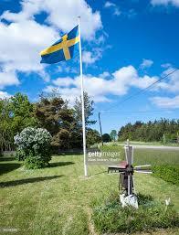 Sweedish Flag Swedish Flag Waving On Field Against Sky Stock Photo Getty Images