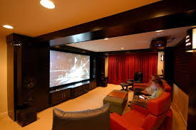 Projector Media Room - interior outstanding small man cave media room ideas brown