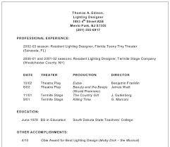 Movie Theater Resume Sample by Stage Lighting For Students