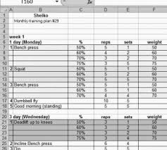Sheiko Bench Program Sheiko Template 28 Images 28 Sheiko Powerlifting Spreadsheet