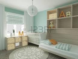 3d home interior design nursery baby room playroom interior design 3d render stock