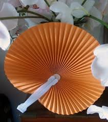cheap paper fans 9 orange folding accordion paper fan for weddings