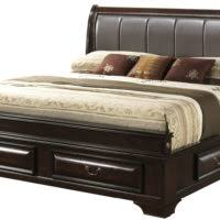 bedroom black wooden bed using leather headboard and storage