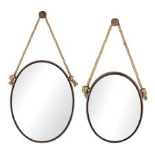 sterling industries home decor sterling oval mirrors on rope set of 2 rust red outlet store