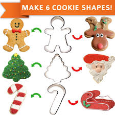 set of 3 christmas cookie cutters makes 6 shapes