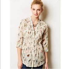 bird blouse 54 anthropologie tops maeve pin tucked button bird