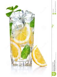 glass of fresh cool water with lemon royalty free stock