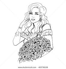 vector illustration sketch woman holding beautiful stock vector