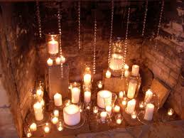 candles in fireplace wedding pinterest fireplace candles
