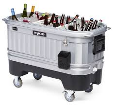 Outdoor Cooler Cart On Wheels by New Large Party Bar Cooler Ice Chest Huge 125 Quart Rolling Lights