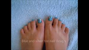 super easy toe nail design nr 1 blue and silver youtube