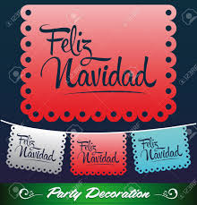 feliz navidad merry christmas spanish text holiday vector