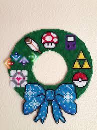 my version of the 8 bit christmas wreath perler beads sprites