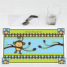 baby shower monkey blue monkey boy personalized baby shower placemats