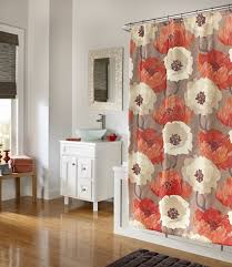 Cassandra Shower Curtain by Poppies Tangerine Fabric Shower Curtain Poly Duck Fabric Shower