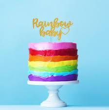 glitter rainbow baby cake topper calligraphy cursive script baby