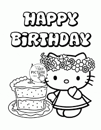 Perfect Decoration Birthday Cake Coloring Page Hello Kitty Single Birthday Cake Coloring Pages