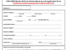 scholarship application form template free resume