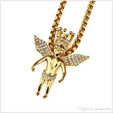 angel necklace pendant images Wholesale new style gold iced out crown angel baby pendants hip jpg