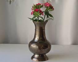 Brass Vase Value Black Brass Vase Etsy