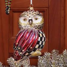 mackenzie childs courtly check owl ornament tree glass