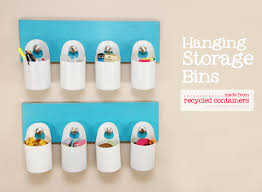 Hanging Pictures by Hanging Storage Bins Made From Recycled Containers Make It And
