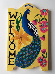 welcome sign peacock welcome sign welcome door hanger hand
