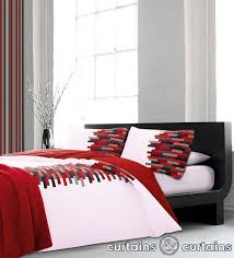 art deco is a duvet cover inspired by modern homes a blocks design in red black and white shades to compliment contemporary bedrooms