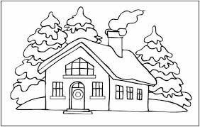 winter coloring house snow winter coloring pages
