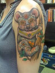 big interesting painted funny koala tattoo on shoulder tattoo tf