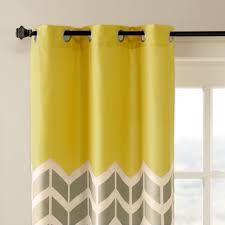 Yellow Grommet Curtain Panels by Home Essence Apartment Elaine Chevron Printed Grommet Top Panel