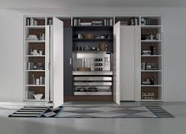 Kitchen Tall Cabinets Tall Kitchen Unit With Pocket Doors Combines Form With Function