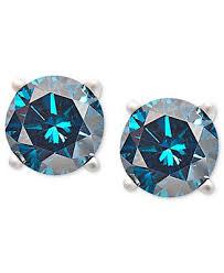 blue diamond stud earrings 14k white gold earrings treated blue diamond stud earrings 3 4