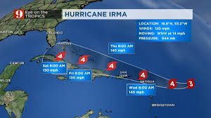 Florida Weather Map by Hurricane Irma Becomes Category 4 Winds Top 145 Mph Wftv