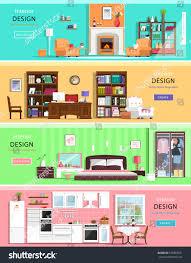 set colorful vector interior design house stock vector 339389531