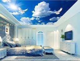 chambre ciel personnalisé 3d papier peint au plafond murale bleu ciel et blanc