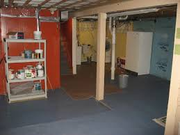 simple unfinished basement with white waterproof basement wooden