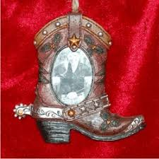 brown boot western ornament frame ornament