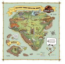 Jurassic World Map by Jurassic Park Map World T Rex Isla Nublar Ingen Art Print Movie